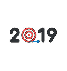 icon concept 2019 with bulls eye and dart miss vector image
