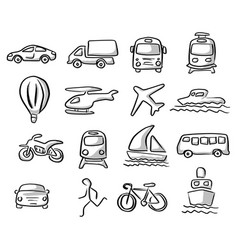 icons of transportation set with gray shadow vector image