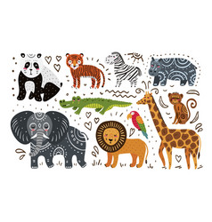 jungle animals hand draw vector image