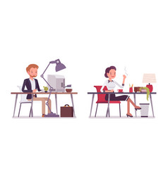 lady and gentleman working at the desk vector image
