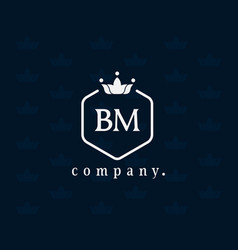 Letter bm mb luxury crown logo and emblem vector