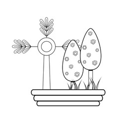 line nice trees with flowers and plant with vector image