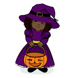 Little girl in witch costume vector