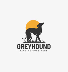 Logo grey hound silhouette style vector