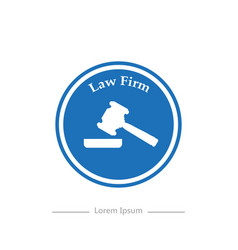 logo on a blue background law firm stylish flat vector image