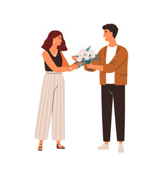 man giving bouquet rose flowers to female vector image
