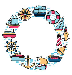 marine spirit round concept with ship icons in vector image