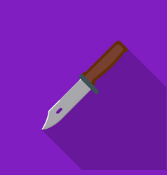 Military combat knife icon in flat style isolated vector
