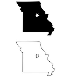 missouri mo state map usa with capital city star vector image