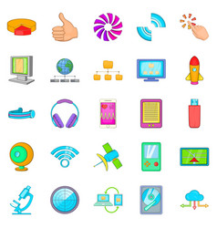 Mobile dev icons set cartoon style vector
