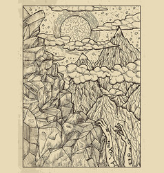 Mountain mystic concept for lenormand oracle vector