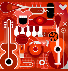 musical instruments and cocktails vector image