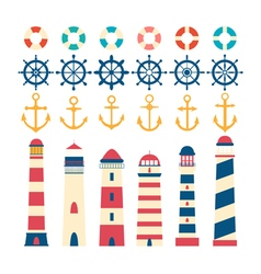 Nautical set Steering wheel lighthouse anchor and vector image