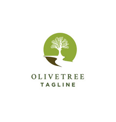 olive tree logo designs with rivers vector image