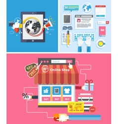 Online shop social media and seo optimization vector image