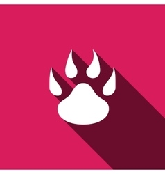 Paw icon with long shadow vector