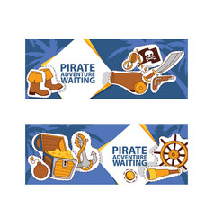 pirate adventure waiting banner corsairs vector image