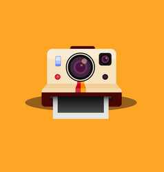 Polaroid vintage camera in flat vector