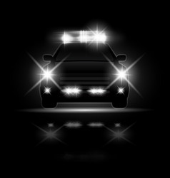 police car with headlights flares and siren at the vector image