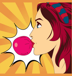 Pop art woman with gum vector