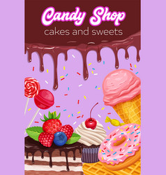 poster with confectionery and sweets vector image