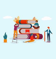 Readers around books stack vector