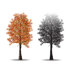Red autumn tree and silhouettes vector