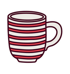 Red striped coffee cup ceramic icon vector
