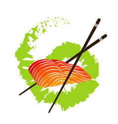 Salmon fillet and chopsticks vector