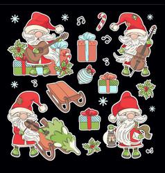santa claus stickers cartoon musical vector image