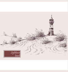 Sea shore and lighthouse beach hand drawing vector