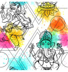 Seamless pattern ganesha vector