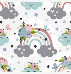 Seamless pattern with rainbow and flowers vector