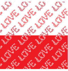 Seamless pattern with word love in hand drawn vector