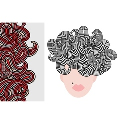 Seamless vertical pattern and woman with hair vector image