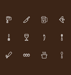 Set of 12 editable meal outline icons includes vector