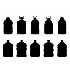 set silhouettes big water bottles vector image