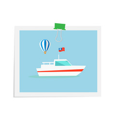 Ship on isolated image attached by green binder vector
