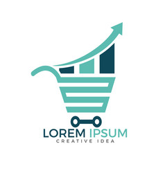 Shop report or stats and shopping logo design vector