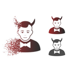 Shredded pixelated halftone devil icon with face vector