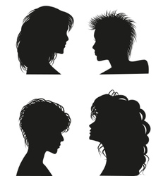 Silhouettes of women hairstyles vector image