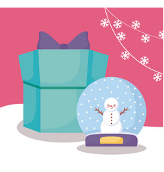 snowman in snowsphere and gift box of christmas vector image