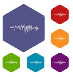 sound wave icons set vector image