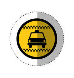 Sticker of color circular emblem with taxi car vector