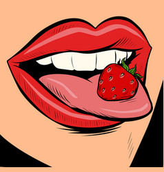 Strawberry female tongue mouth vector
