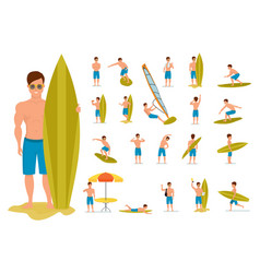 surfer set in various poses situations summer vector image