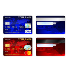 Template credit cards front and back side set vector