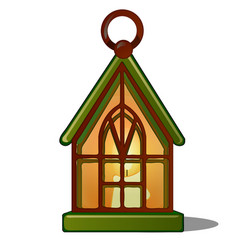 the lamp in the shape of the house with a candle vector image