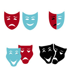 Theatrical masks set isolated on white background vector