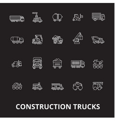 trucks construction editable line icons set vector image